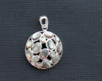 Beautiful Abalone Shell Sterling Silver Round Pendant