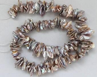 Center Drilled Mauve Keishi Cornflake Freshwater Pearls - 15 Inch Strand