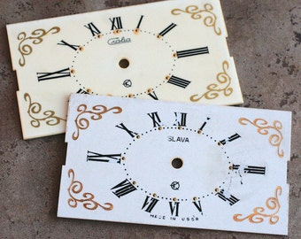 Vintage Soviet Alarm Clock Faces from 1980's -- plastic  -- D1
