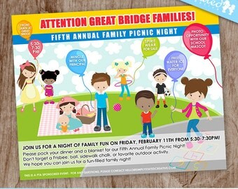 Family Picnic Fun | Event Flyer, Communication Design for Business, Non-Profit, School Events, Fundraiser - Printable Digital File