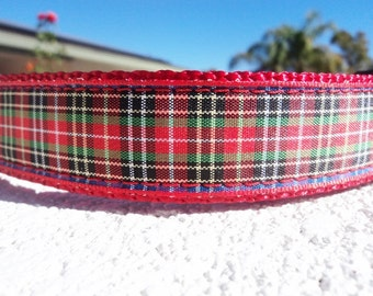 "Sale Dog Collar Red Plaid 1"" wide Side Release buckle or Martingale collar style adjustable"