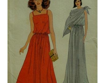 "Strappy Sundress Pattern, Blouson Top, Flared Skirt, Drawstring Waist, Long/Short, Shawl Vogue No. 7101 Size 12 (Bust 34""87cm)"