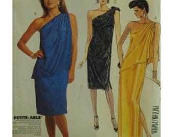 "One Shoulder Dress Pattern, Straight Cut, Asymmetrical Overlay, Sleeveless, Long/Short, McCalls No. 2880 Size 8  (Bust 31.5"" 80cm)"