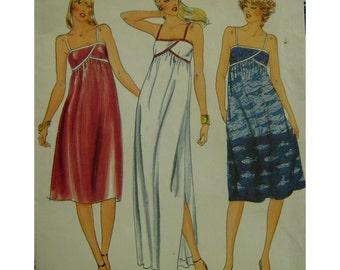 "Spaghetti Strap Sundress Pattern, Bias Trim Bra Section, Long/Short Skirt, Side Slit, Butterick No. 3779 UNCUT Size 8 (Bust 31.5""80cm)"