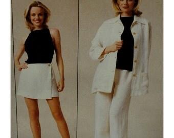 Lida Biday Skort Pattern, Wrap, Wide Leg Pants, Jacket, Collar, Long Sleeves, Open Shoulder Knit Top, McCalls 9371 UNCUT Size 12 14 16