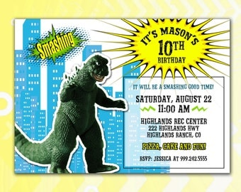 Godzilla Party Invitation *Digital Download*