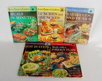 Vintage 1963 Better Homes & Gardens Cookbooks Meals in Minutes, Lunches N Brunches, Barbecues N Picnics, Meals with Foreign Flair, Buffets