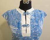 Dress blue Hawaiian batik MOD pinup with pockets XL