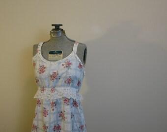 Maxi dress summer cotton sundress floral pink and white empire waist M