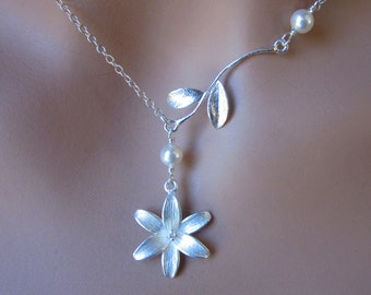 Sterling Silver Flower Pearl Branch Leaves Wedding Necklace Brides Jewelry Gift Tiger Lily