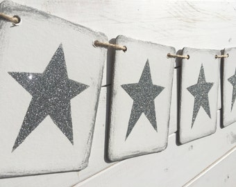 STAR Banner, New Years Banner, Christmas Banner, silver and white, glitter star garland, star bunting, holiday photo prop, silver stars