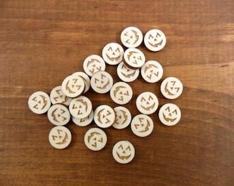 "Wood Stud Earring Pumpkin Jack O Lantern Etched Shapes 1/2"" (12mm) Laser Cut Circles - 20 Pieces"