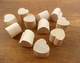 "50 Wood Chunky Hearts 3/4"" H x 3/4"" W x 3/4"" Thick Unfinished Wood Heart Cutouts Cut Out"