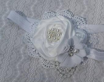 White flower headband,white headband, rolled flower, baptism headband, christening headband,newborn headband, any size, photo prop