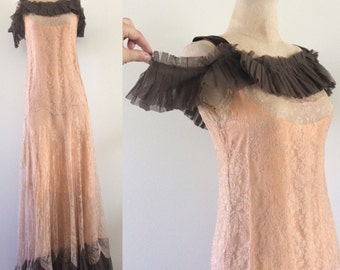 1930's Intricate Nude Lace Off the Shoulder Floor a Length Evening Gown Antique Dress Size XS Small by Maeberry Vintage