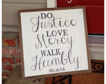 Do Justice, Love Mercy, Walk Humbly - Micah 6:8  (20x20) - Ready to Ship