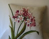 Embroidered flowered pillow, Flowered pillow, flower stitched using embroidery stitches,  decorative pillow