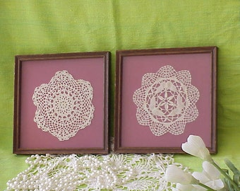 Pair Old Vintage Hand Made Shabby Chic Doily Framed Pictures