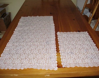 Vintage 2 Piece Lace Table Runner or Dresser Scarf and  Doily