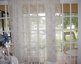 Free Shipping .Vintage Cottage Cream Lace Panel 62 Long