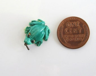 FROG Celluloid Charm - Vintage, Hand Colored / Painted