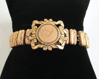 Vintage / Antique Stretch Sweetheart Bracelet - Textured Gold Filled, As Is