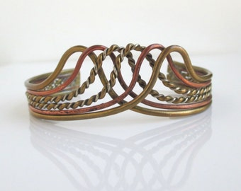 Mixed Metals Cuff Bracelet - Vintage Copper, Brass & Silver - Crown Shape