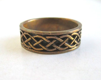 Copper Band / Ring - Woven Texture, Vintage Size 8