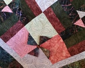 """REDUCED 95 dollars! Magnificent """"Jungle Dance"""" Batik Patchwork Quilt with Pinwheels and Button Accents Includes Bonus Throw Pillow"""