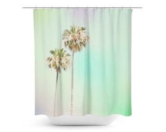 art shower curtain pastel palm trees beach house palm tree photograph home