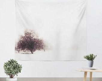 Minimalist Tapestry - Tree Tapestry - Tree Wall Hanging - Dorm Tapestry - Snow Tapestry - Tapestry - Black and White