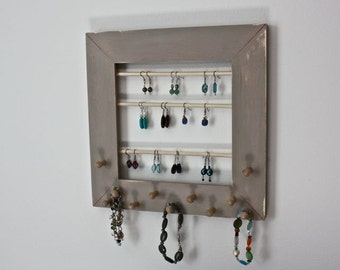 Jewelry Holder Organizer for Earrings, Necklaces, Bracelets. Wall Mount Jewelry Display