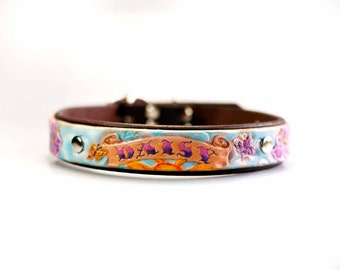 Personalized Dog Collar, Unique Leather Dog Collar, Custom Dog Collar, Girl Dog Collars, Designer Dog Collar, Tooled Leather Pet Collar