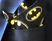 Bat Symbol™ Cotton Print Pocket Square With Hand-Rolled Hems