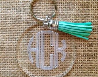 Monogram Tassel Keychain - Engraved Key Chain - Acrylic