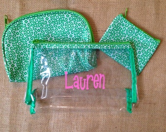Monogram Clear Makeup Bag with Green Trim - THREE PIECE SET