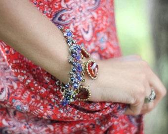 Tapestry bracelet - multistranded crystal and gemstone bracelet, sterling silver, 14k gold fill