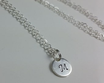 Sterling Silver initial Disk Necklace, Minimalist Necklace, Bridesmaid Gifts, Under 30.00
