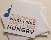 Hungry Greeting Card - Friends Note Card - Funny Friends Card - A2 Greeting Card - Humorous Birthday Card - Funny Birthday Card