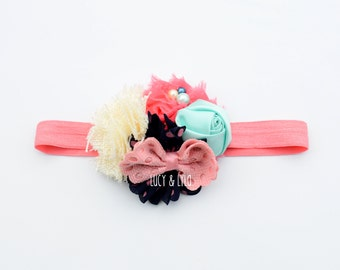 hot pink and aqua baby girl headband, newborn photography prop, newborn headband, colorful headband