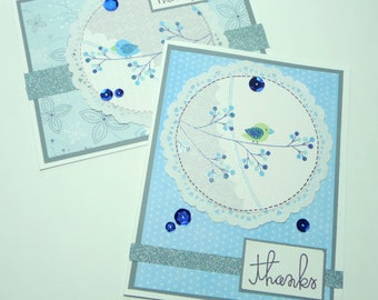 Thank You Bird Greeting Card - Two Winter Themed Handmade Paper Cards with Coordinating Embellished Envelopes