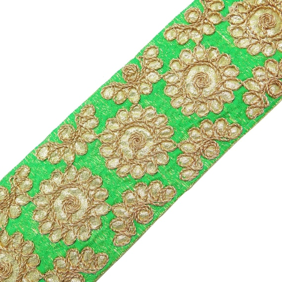 Items similar to embroidered fabric trim green ribbon