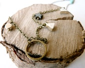Symbolic and sacred round triangle necklace ( bobo, gypsy caravan, silver and brass ) 02