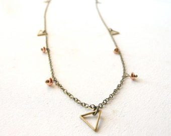 Triangles necklace with cooper beads ( bobo, gypsy caravan ) 02