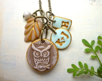 Owl Couple and Kid initial Necklace, Owl Family Necklace