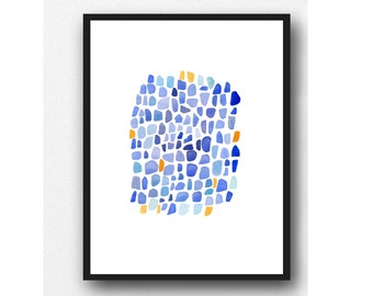 Blue Watercolor painting, original painting Sea glass, Abstract painting