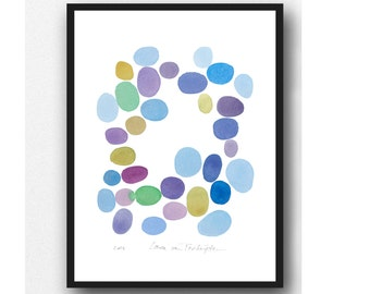 Modern minimalist watercolor painting, original watercolor painting, abstract painting purple blue dots  abstract painting -