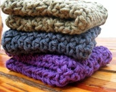 Twilight Shadows Hand-Crocheted Dishcloth/Washcloth Set in Purple, Slate Blue, and Olive Green
