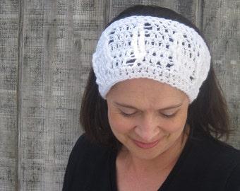 Cabled crochet headband, headwrap, ear warmer - winter white - crochet accessories Winter Fashion handmade Salutations Crochet