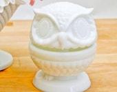 Fenton Milk Glass Owl Ring Holder